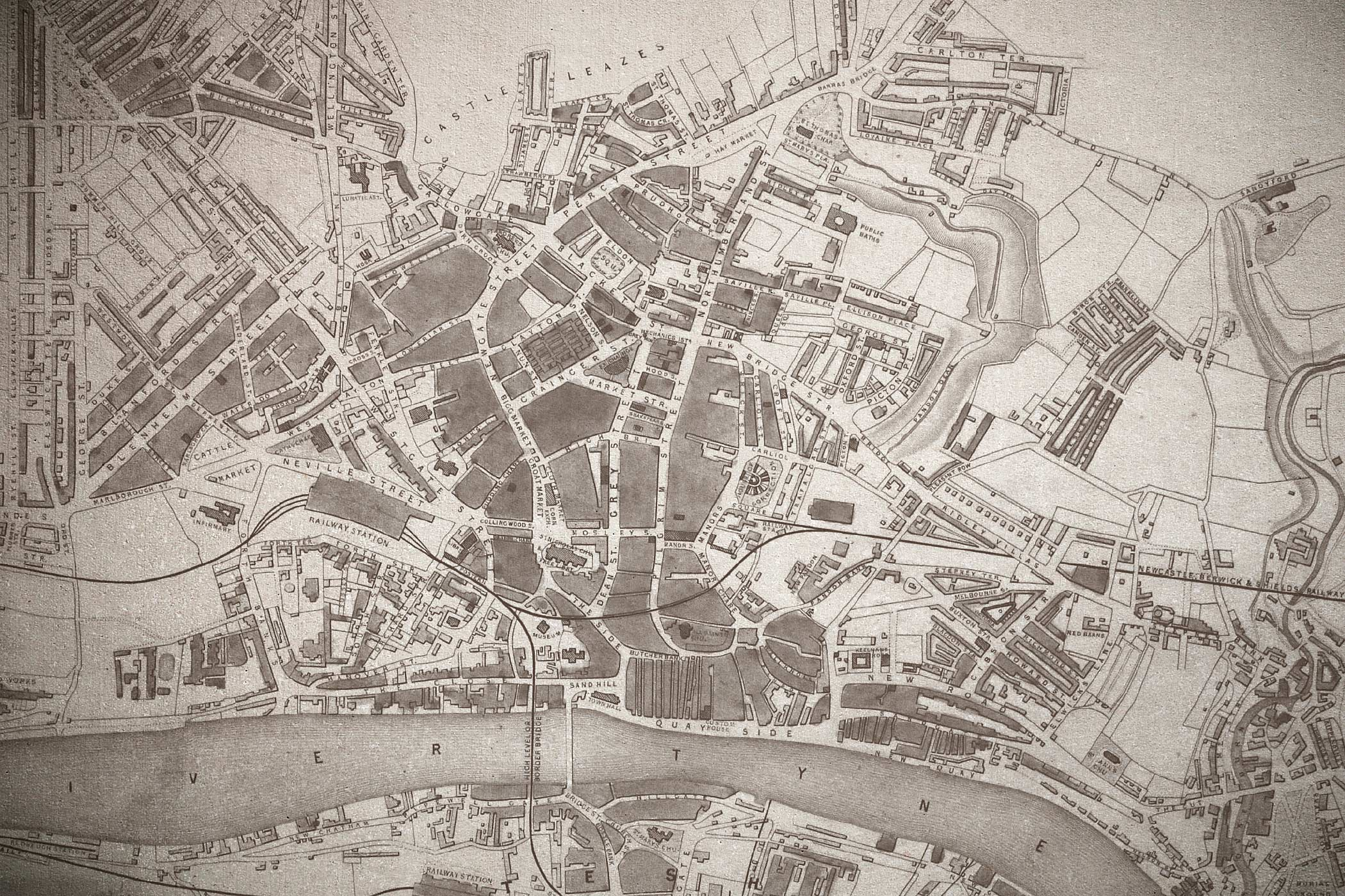 Newcastle upon Tyne map, circa 1849 showing the River Tyne and City Centre.